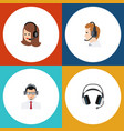 flat icon center set of help earphone service vector image vector image