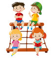 four kids on rope climbing station vector image vector image
