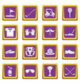 golf icons set purple square vector image vector image