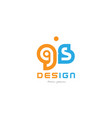gs g s orange blue alphabet letter logo vector image vector image
