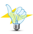 hand light bulb vector image