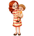happy boy and his mother on white background vector image vector image