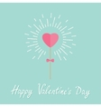 Heart on the stick with bow shining light effect vector image vector image