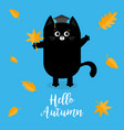 hello autumn black cat graduation hat academic vector image vector image