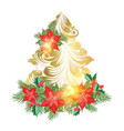 holiday fir tree with poinsettia flower decor vector image vector image