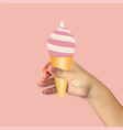 human hand holds ice cream food icon vector image