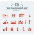 Landmarks Flat Icon Set vector image