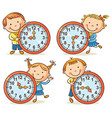 little kids telling time set vector image vector image
