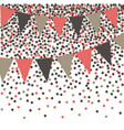 living coral bunting background with confetti vector image