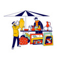 male character visiting flea market or garage sale vector image