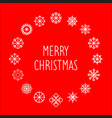 merry christmas text in round snowflakes vector image vector image