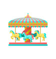merry go round carousel with horses amusement vector image vector image