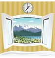 open window with summer mountain landscape view vector image vector image
