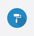 paint roller Flat Blue Simple Icon with long vector image