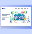 photography concept website landing page vector image vector image
