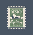 postal stamp with sydney opera house silhouette vector image