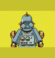 robot covered his eyes vector image vector image