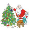 Santa Claus decorating a Christmas tree vector image vector image
