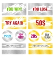 Scratch card game win lottery elements vector image vector image
