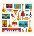 set of modern flat design musical instruments vector image vector image