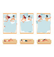 set sleeping couple man and woman sleeping vector image