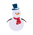 snowman christmas character winter hat scarf vector image vector image