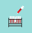 Test tube with blood and syringe vector image