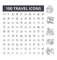 travel editable line icons 100 set vector image