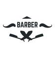 vintage barber logotype mustache with razors vector image