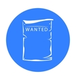 Wanted icon black Singe western icon from the vector image vector image