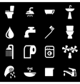 white bathroom icon set vector image vector image