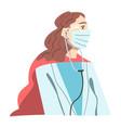 woman doctor superhero wearing medical mask vector image vector image