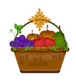 wooden basket with food vector image