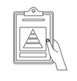 hand with clipboard graph financial outline vector image