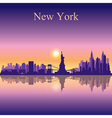 New York city skyline silhouette background vector image