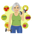elderly woman with dumbbells vector image