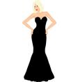 blonde woman in black dress vector image