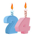 24 years birthday number with festive candle for vector image
