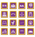amusement park icons set purple vector image vector image