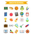 back to school icon set flat cartoon style vector image vector image