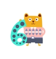 Bear Standing Next To Number Six Stylized Funky vector image vector image