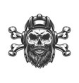 bearded and mustached tankman skull vector image vector image
