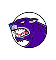 black panther growling mono line vector image vector image