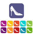 bride shoes icons set vector image vector image