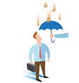 business man under umbrella vector image vector image