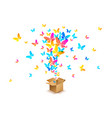 butterflies from open cardboard box vector image