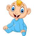 cartoon baby boy wearing blue pajama vector image vector image