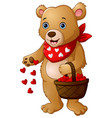 cartoon bear with a basket of red heart vector image