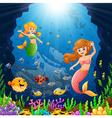 cartoon mermaid under the sea vector image vector image