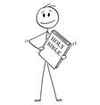 cartoon of man holding big holy bible book vector image